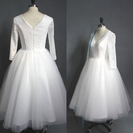 Real Picture Tea Length Wedding Dress Cheap High Quality A-line V Neck Lace Top Puffy Tulle Short Wedding Dresses with Sleeves
