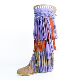 Women Slip on Fringe Women Knee High Boots Mixed Colors Shoes Tassel Decorated Wedges Boots Women Botas Mujer Big Size 47