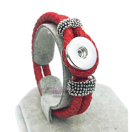 Wholesale Hot Original Genuine Leather 18mm Snap Button Bracelet Interchangeable Charm Jewelry For Women Men inside length 20cm