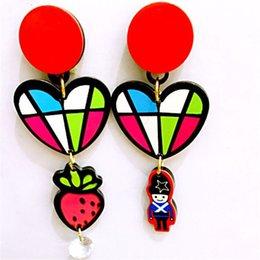 Wholesale Fashion Airplane Shape Cute Stud Earrings Women Love Cartoon Dot Stripe Earrings for Girls Jewelry Party