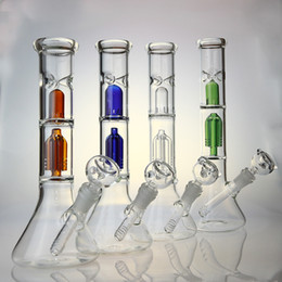 Wholesale 12 inches Waterpipe Bong with arm Tree Percolator Slitted Dome Diffuse Perc Ice Pinch with Beaker Base YX11