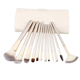 Mybasy New Professional Beige 12pcs Makeup Brushes Set With Wood Handle Persian hair Use For Powder Cream And Liquid Products