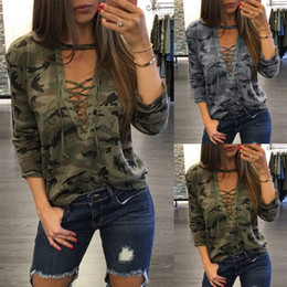Wholesale Fashion Women Girls Long Sleeve Lace Up Military Camouflage Shirts Casual Blouse Tees Tops ED00077