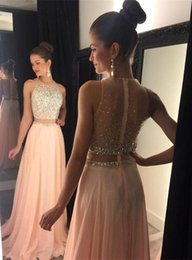 Wholesale Tow Pieces Prom Dresses Jewel Neck Sleeveless With Zip Back Beads Crystal Chiffon Sweep Train Formal Evening Gowns