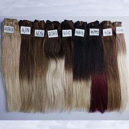 120g Ombre Clip In Human Hair Extensions 7pcs set 9 Different Colorful 18 inch Straight Clip In Brazilian Virgin Human Hair Extensions
