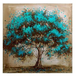 Framed Blue Tree Canvas Art Decoration,Pure Hand Painted Modern Wall Decor Tree Art Oil Painting Quality Canvas.Multi sizes Available a-mei