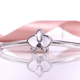 Factory Price Authentic 925 Sterling Silve Bead White Orchid Charm With White Enamel Fit European DIY Bracelet Necklace Jewelry 792074EN1
