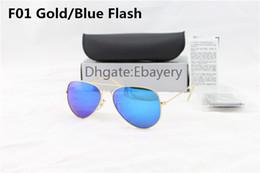 Lente de espejo en venta-50pcs Gafas de sol excelentes del piloto de las gafas de sol del diseñador de la calidad para el Mens El metal de plata de las mujeres Flash el espejo azul 58m m las lentes de cristal de 62m m Venta caliente