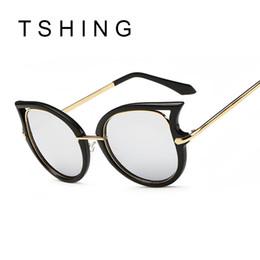 Compra Online Espejo de cristal clásico-Las gafas de sol al por mayor-Clásicas del ojo del gato de las mujeres de la vendimia forman a diseñadores de lujo de la marca de fábrica las gafas de sol del espejo de las señoras para la mujer