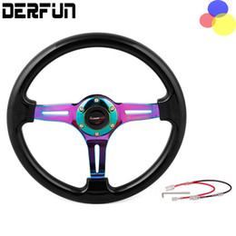 Wholesale Universal ABS steering wheel color frame silver frame gold frame quot mm car modification Blue Red Colorful