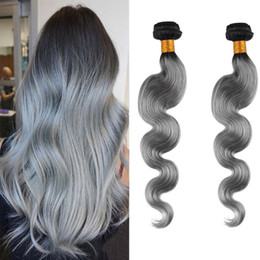 Resika 2 pcs 200g lot Body Wave Brazilian Hair T1B Gray Human Hair Extensions 8A Grade Soft and wavy Double Weft No Tangle