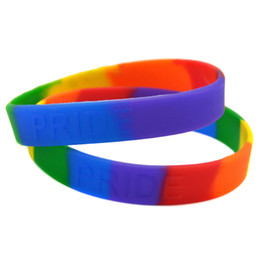 Wholesale Shipping 100PCS Lot Pride Rainbow Colour Silicon Bracelet Embossed Logo Wristband Promotion Gift Adult Size