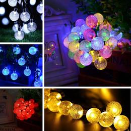 Скидка водить садоводства Горячая 6M 30 LED Crystal Ball солнечных батареях свет Открытый свет шнура для Вне сада Патио партии Рождество декоративный свет Строки PPA670