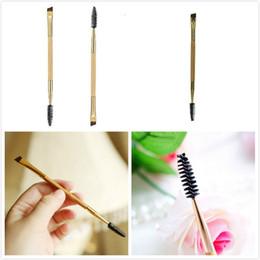 2017 outils gratuits d'expédition 2016 Brand New Tarte Professionnel Outils de maquillage en bambou poignée brosse sourcil double + pinceau de maquillage peigne peigne Livraison gratuite promotion outils gratuits d'expédition