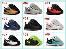 Kd chaussures de vente mens à vendre-2017 Hot Sale KD 9 Chaussures de basket-ball pour homme KD9 Oreo Loup gris Kevin Durant 9s Sports pour hommes Sports Sneakers Warriors Accueil US Taille 7-12