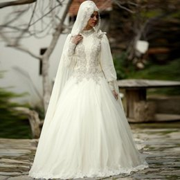 Novias musulmanes vestidos simples en venta-Alto Cuello Manga Larga Musulmana Blanca Una Línea Vestido De Novia Hijab Encaje Aplique Cristal Que Rebordea 2017 Arab Bride Bridal Gown