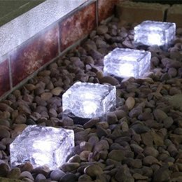 LED Solar Lamps Solar Ice Brick Light Waterproof Led Ice Brick Ground Light 7Color Solar Crystal Brick Changing Sun Light Garden Path Lamp