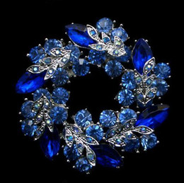 Silver Tone Unique Flower Royal Blue Crystal Wreath Brooch Jewelry