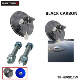Wholesale Tansky BLACK Carbon Fiber BLUE Flush Mount Hood Lock w Key Variable Mount Fit for Most Cars TK HP001