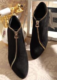 Descuento botas altas de tacón hombres señalaron dedos de los pies Zip Side Negro de cuero genuino tacones gruesos punta Toe hombres zapatos Men Hombreras Oxfords hombres botas altura mayor de tacón de los hombres