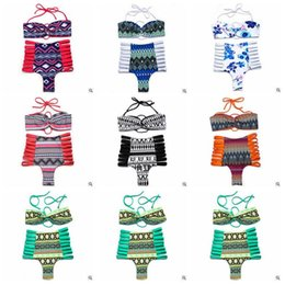 Tankinis mulheres s On-line-Mulheres Bikini Strapless Set Swimwear cintura alta oca Out Swimsuit Push Up traje de banho brasileiro Impresso Sexy Beachwear CCA5634 10set
