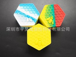 Wholesale Quality Honeybee Hexagon Silicone Container Jars Silica Gel Containers For Oil Crumble Silicones Boxes Honey Wax Dab yh