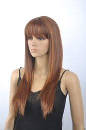 High Quality Fashion Picture full lace wigs >New wig Fashion Women Dark Brown Mix Long Wigs Straight Wig With Bangs