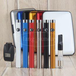 New Slim Manual Button Vape Pen Starter Kits Plastic Case Thick Wax Oil Vaporizer Cartridges Atomizer Clearomizer 510 Thread 280 mah Battery