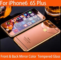 Écrans pourpres en Ligne-Iphone 6 6S plus couleur miroir verre trempé protection écran avant et arrière or / rose or / noir / argent / violet / bleu