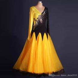 New Ballroom Dance Dress Modern Waltz Tango Standard Yellow Rhinestone Dance Dress Size S-XXL Custom A117