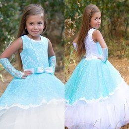 New Jewel Neck Girls Pageant Dresses Appliques Tulle Long Flower Girl Dresses Ball Gown Princess Girl Formal Occasion Dresses