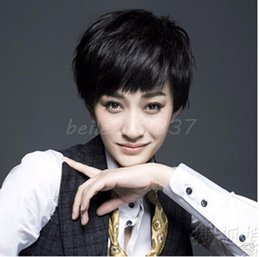 100% New High Quality Fashion Picture full lace wigs HOT Sexy Ladies Short Straight Slight Curly Wigs Women Cosplay Party Full Wigs