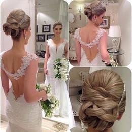2019 Custom Made Elegant V Neck Mermaid Lace Vintage Cap Sleeve Modest Wedding Dress Plus Size Wedding Party Dress New Country bridal Gowns