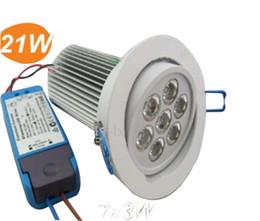 Descuento luces de techo led brillantes Dimmable 21W 7x3W LED downlights con los conductores AC85V-265V empotrado downlight luces de techo abajo de la luz Australia SAA brillante lámpara LLFA
