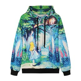 Wholesale Autumn and winter new European and American women s digital printing green forest Alice and cat leisure Hooded sweater SJMD07