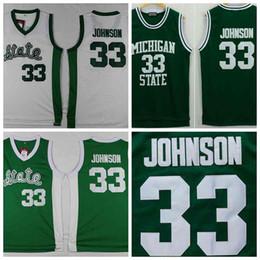 Michigan State Spartans Magia Johnson Jerseys 33 Universidad de la Universidad de jerseys camiseta corriendo Color Verde para los hombres Tamaño s-xxxl green running shirt on sale desde camiseta para correr verde proveedores