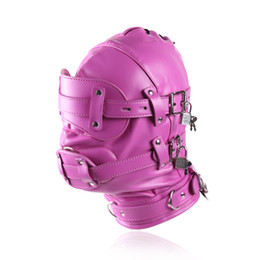 Erotic BDSM Sex Bondage Faux Leather Hood for Adult Play Games Full Masks Fetish Face Blindfold for Couple Games