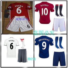 Wholesale best quality MancHESTERES IBRAHIMOVIC Pogba jerseys AWAY BLUE ROONEY MEMPHIS MARTIAL unITED ball SHIRT