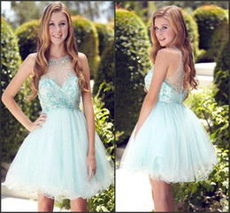Sheer Jewel Neck Light Sky Blue Homecoming Dresses 2017 A Line Short Mini with Beads Girl Prom Gowns Knee Length Cocktail Dresses BA6002