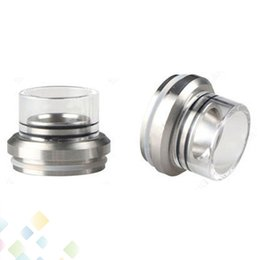 Wholesale 28.5MM Atty Drip Tip Cap Wide Bore Glass and Stainless Steel Drip Tip Cap for ATTY Atomizer DHL Free