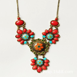 Europe and the United States fashion jewelry retro West beige glaze red retro sweater chain necklace female