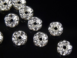 100 Pcs Wavy Rhinestone Rondelle Spacer Beads 6mm - Silver Clear Crystal SPARKLING Beads