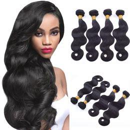 Wholesale 7A Brazilian Body Wave Hair Weaves inch Human Hair Extensions Cheap Brazilian Hair Bundles GR Brazilian Body Wave Natural Black