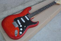 2017 guitarras llama roja El envío libre de encargo de la fábrica de la alta calidad de la alta calidad de encargo de la guitarra eléctrica de la firma ST firma el cabezal grande 1027 guitarras llama roja limpiar