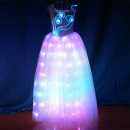 Vinaigrette en Ligne-YB049 Longévité à distance LED Robe programmable Long Ballroom Robe de danse Robe de soirée Sexy Girls UP UP