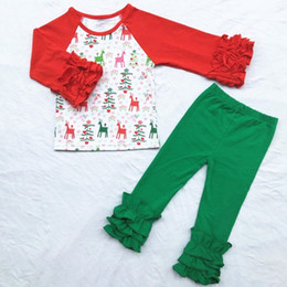 Wholesale hot selling chic cotton girl set cotton with long sleeved ruffle set with Christmas deer trousers