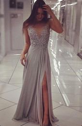Gray Crystals Beaded A Line Chiffon Prom Dresses 2017 Sheer Neck Sleeveless Side Split Evening Dresses Floor Length Formal Party Wear