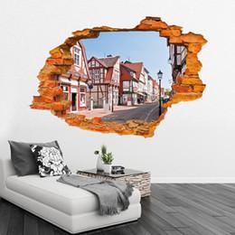 Dinosaur wall stickers Wall Street fashion creative 3D stereo wallpaper Sunshine beach Removable stickers 60*90cm 150g