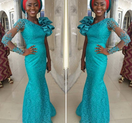 Turquoise Long Aso Ebi Evening Dresses With One Long Sleeves Beaded Red Carpet Dresses With Big Shoulder Flowers Custom Made Party Gowns