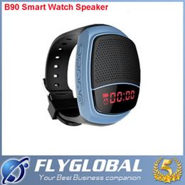 Boîte de haut-parleur de radio à vendre-Bluetooth Smartwatch B90 Mini Haut-parleur Smart Watch Subwoofers sans fil Appel mains libres LED TF Radio FM MP3 Stéréo Musique Retardateur Retail Box
